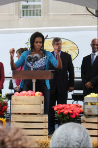 Michelle Obama talks vegetables at the Vermont Avenue FreshFarm Market opening
